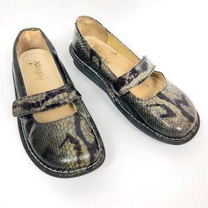 Alegria Snake Print Mary Jane Nursing Shoes